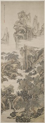 towering rock formations in clouds at top; river at center; bearded figure at center bottom looking at waterfall in LLC; 2 other figures between trees