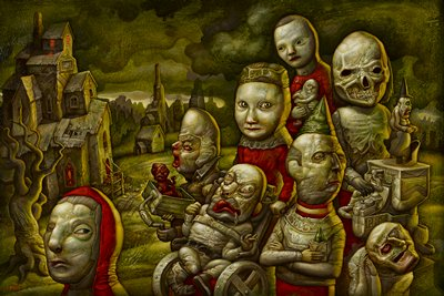 monsterous, deformed, doll-like figures, with one figure strapped to a wheelchair at center and a skeleton headed figure in URC; worn buildings at L; greenish grey turbulent sky