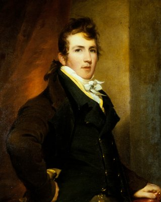 Portrait. The subject is painted half-length wearing a brown coat.