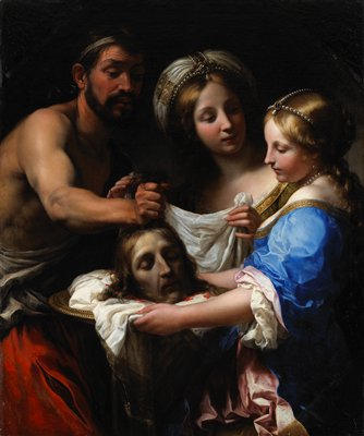 rectangular frame with an octagonal opening; three standing figures, a male at left facing right holding the head of St. John's by the hair, a woman wearing a blue dress at right holding a silver tray with the head of St. John on it and Salome at center looking on wearing a white headdress with strands of pearls