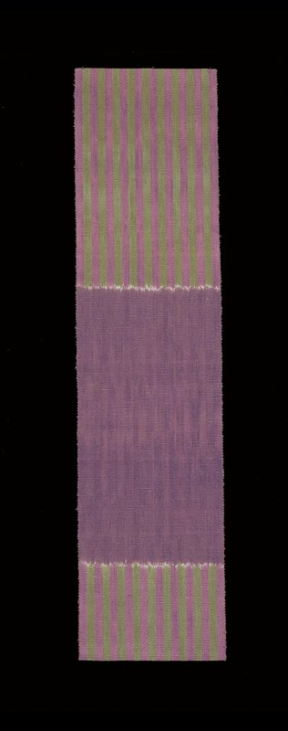purple and green stripes on each end fading into white with purple at center; one area of stripes longer than other area; warp ikat plain weave