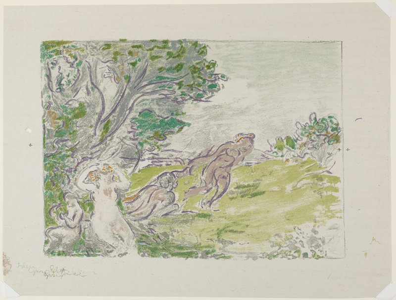 four nudes under a tree, with one standing figure at center; central seated nude has her hands held up to her head; greens, blue, brown and muted flesh tones; sketchy style