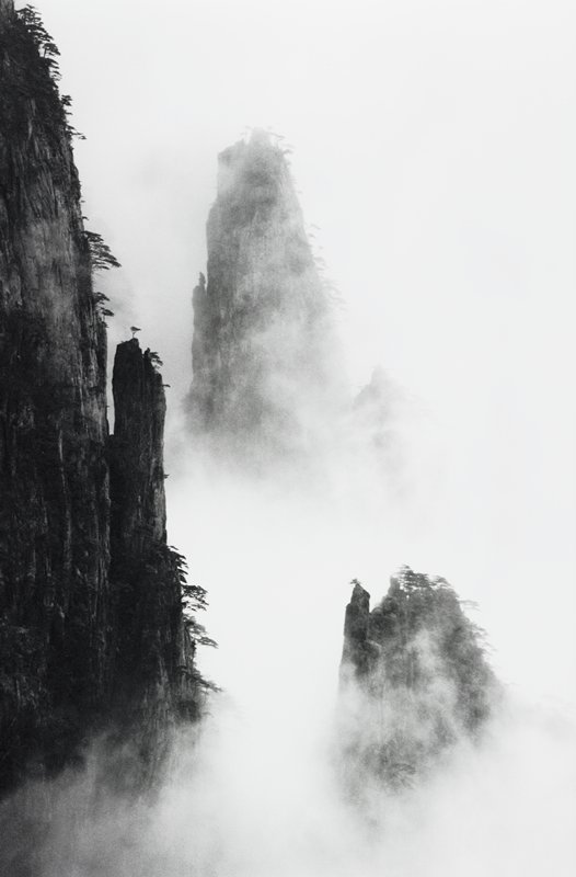 three rocky mountain peaks covered in fog, with sparse trees
