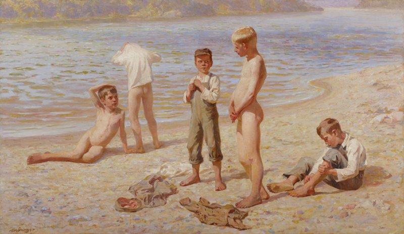 Genre scene of boys bathing at a beach.