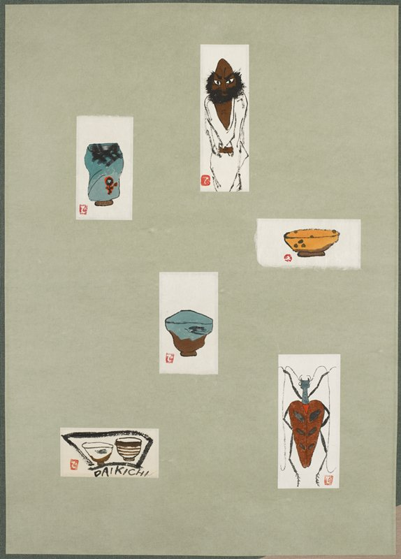 six images mounted together as hanging scroll: man with dark brown skin and bushy black beard wearing white robe; orange bowl with brown dots; brown, black and red insect; blue vessel with brown bottom and black bird on side; blue vessel with black and red flower form; two brown and white bowls--one with black bird--and signature; green and beige mount