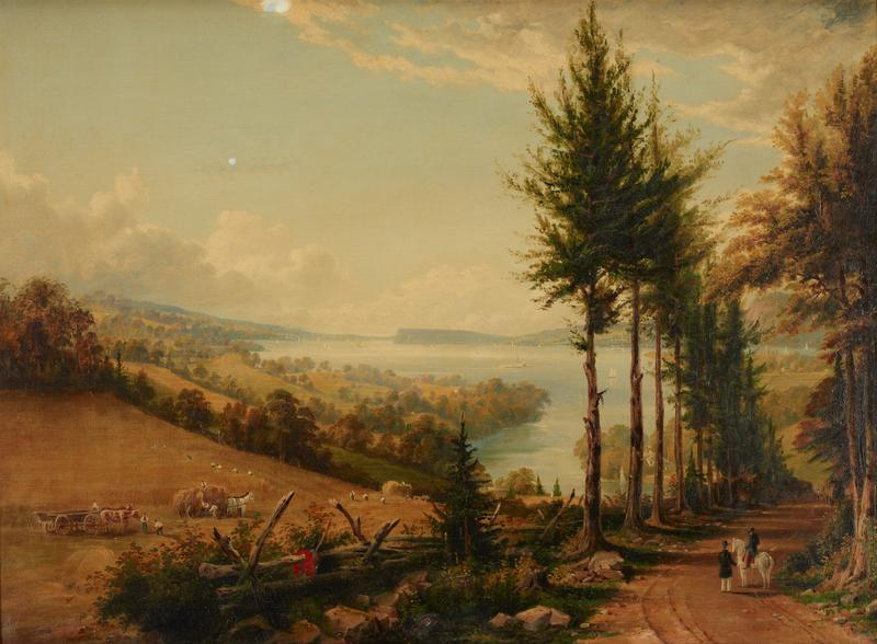 Landscape. In a field to the left a group of figures with hayricks harvest grain; in the background a river, dotted with sailboats and larger craft, stretches away to blue hills of horizon. In right foreground clay road winds through row of pine and elm trees. A man on a white horse is talking to a pedestrian. Gold color of field, blue of sky and river, green of trees, accented by scarlet note of a coat thrown over fence to left of road, and horse's saddle blanket.