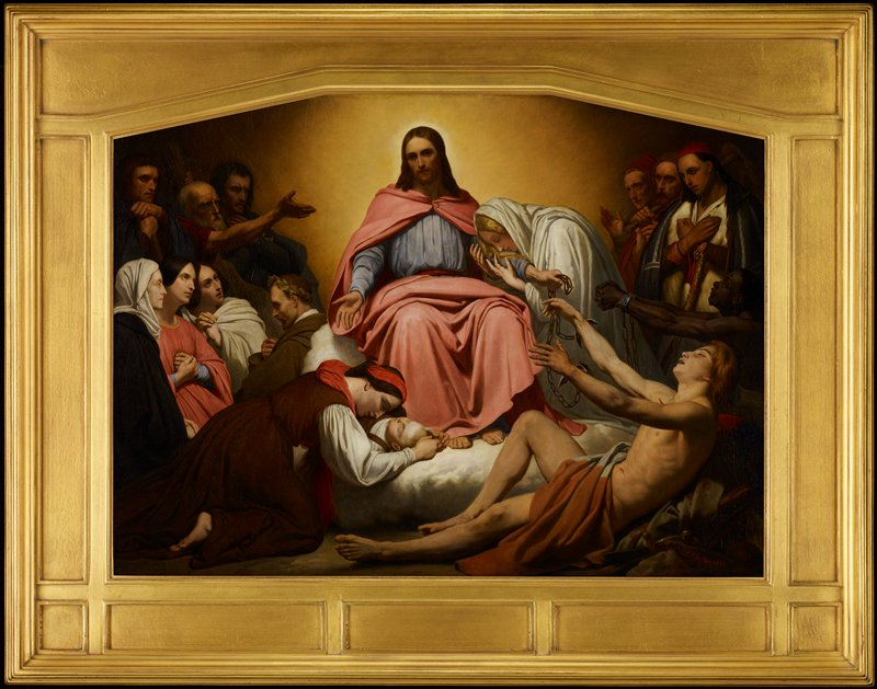 Christ at top center, wearing pink and blue garment, seated on a cloud; woman in white clings to Christ's PL arm; hands of reclining man in LRC have been freed from shackles, held in Christ's PL hand; another black captive at L edge holds his shackled wrists toward Christ; woman at L kneels over dead child at Christ's feet; adoring male and female figures at L and R edges and top corners
