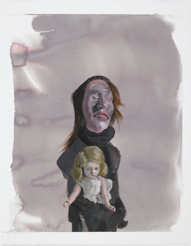 thin figure in black with a large head, high forehead, large nose and long thin brown hair holding a blonde-haired doll in a white dress; purplish-brown ground