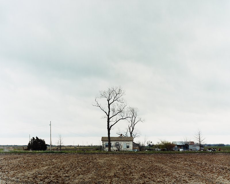 low horizon line; small farmhouse; two large bare trees; satelite dish; field