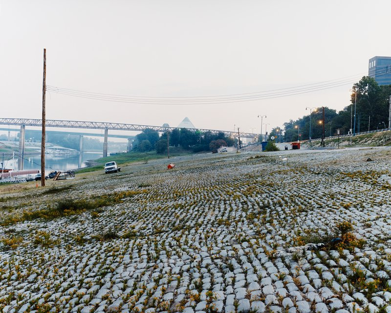 brick-covered slope with orange flowers growing between bricks; river at left; bridge at left