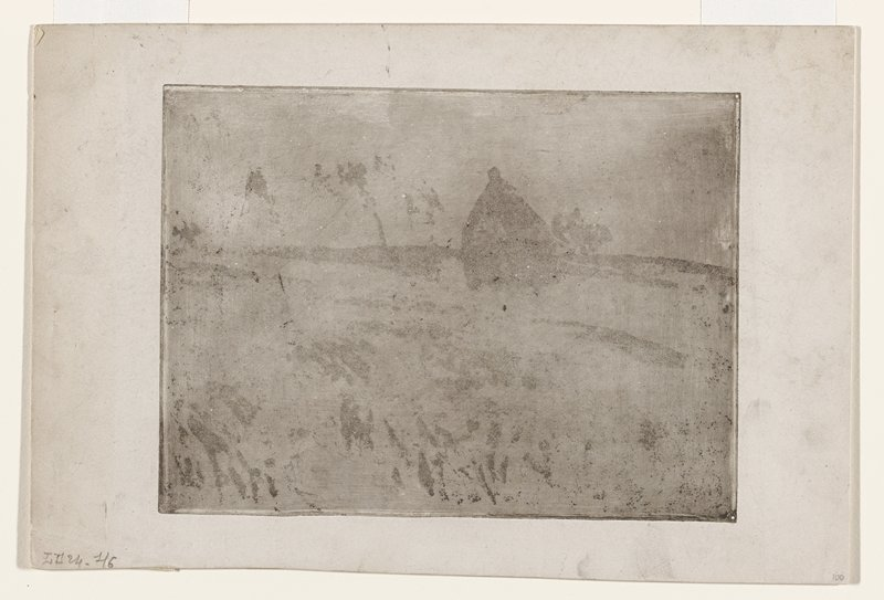 smudgy, grey image; horizon line with triangular shape and light linear marks and splotches. Not signed Aquatint on heavy wove paper, Delteil i/vi (one of two impressions of the first state (of six)