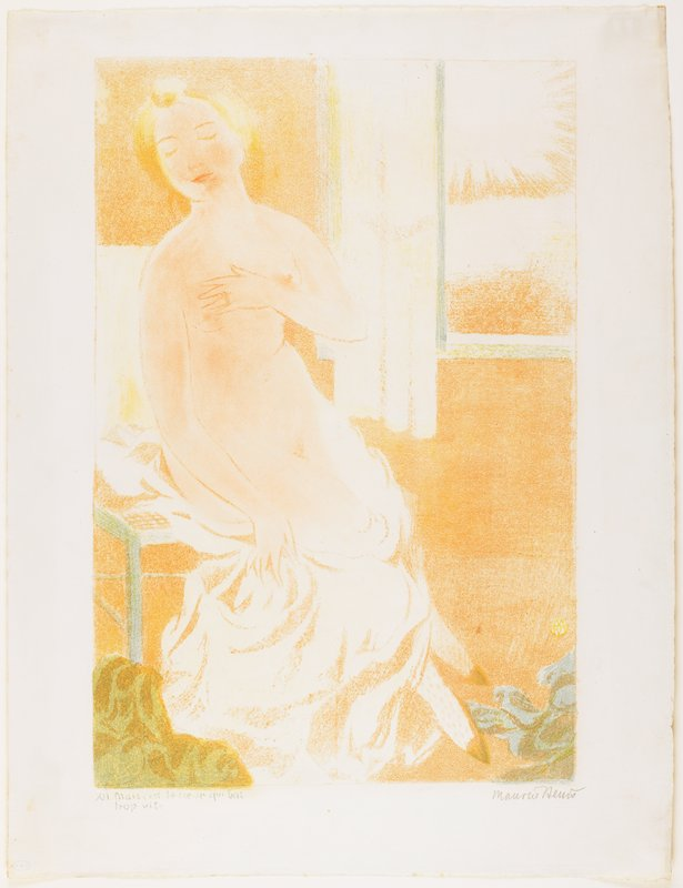 predominately orange and flesh tones; female nude with blonde hair holds her PL hand over her breast and a drape over her lower legs; window in URC; touches of blue-green; muted colors