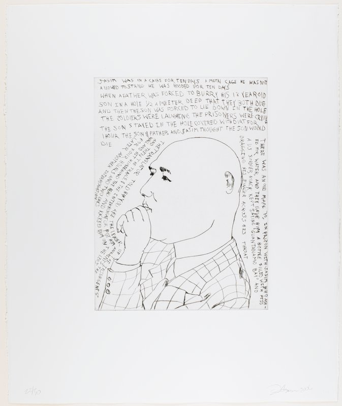 line drawing-style portrait of a bald man with a heavy round face, his PL hand held to his chin; man wears checkered jacket, shirt and tie; text above and around figure