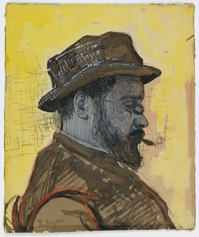 man in profile from PR with beard and moustache, smoking, wearing brown hat and coat and glasses; yellow ground; very loose pencil sketch on verso - person in boat?