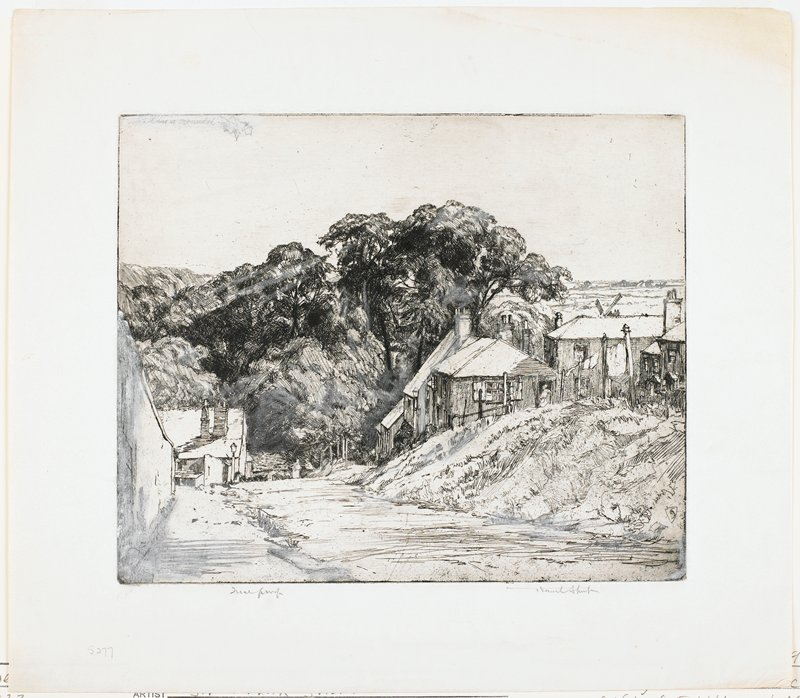 lane with several buildings on right; laundry on line; women in doorway; part of windmill and country side in distance; wall on left; building at end of wall--no sign