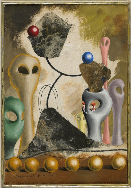 """Surrealist style; six abstracted head-like forms in various colors with large cutout eyes; six tan spheres in foreground; three rock-like elements connected by black lines; two red forms connected with string-like lines in """"eye sockets"""" of grey head; two other balls--red and blue"""