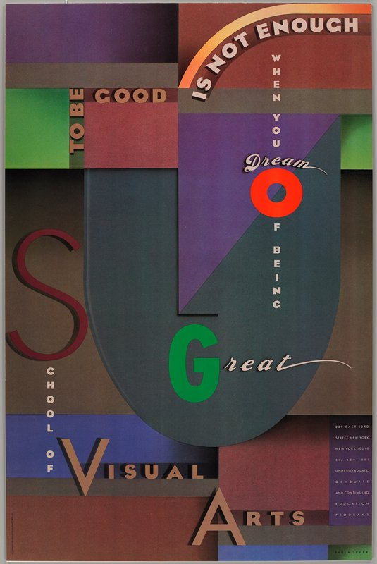 blocks and arcs of various cool colors (purples, greys, brown) with some highlighted larger colored letters in tan and brown text; abstracted face formed by shapes and letters at center