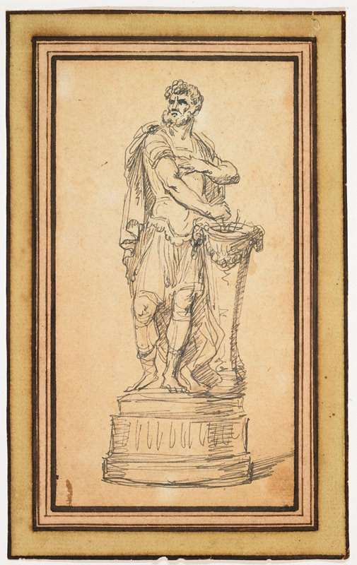 male figure standing on pedestal; PL arm across chest; PR hand above pillar-like stand with hole in center