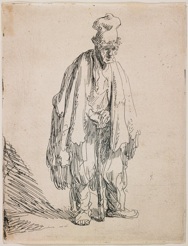 standing man, slightly stooped, leaning with both hands on a walking stick; wearing tall cap with bulbous top and long wraps or cloaks; shadow at left
