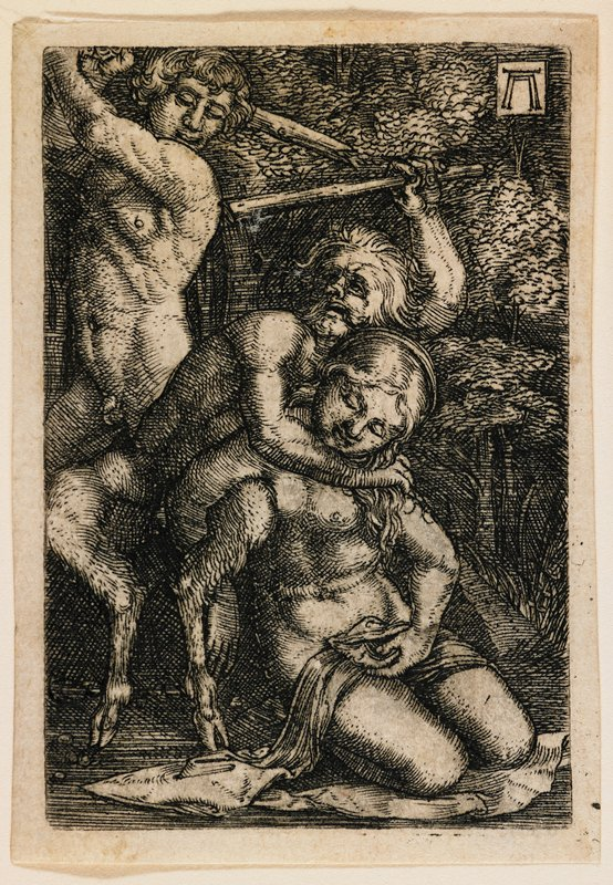 kneeling nymph with eyes closed and drapery over her lap, her PR arm wrapped around the PL leg of a satyr standing behind her; satyr has PR arm around nymph's neck, PL arm holding a staff aloft; standing nude man behind satyr with staff held back like a baseball bat