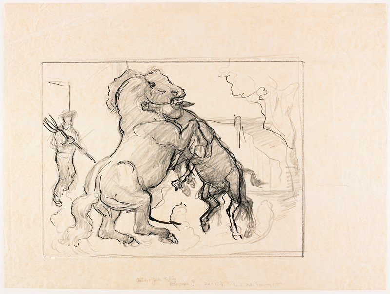 stallion and donkey, both on their rear legs, pushing each other; stallion at left, donkey at right; figure with pitchfork at left; sketchy tree and right; sketchy, with ink details