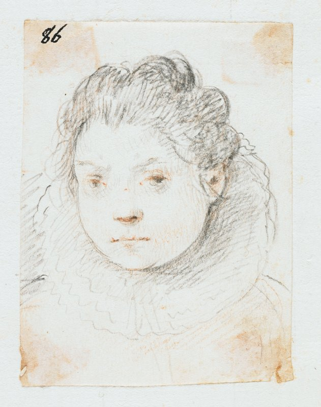 woman wearing a lace collar with pulled-back hair, in black and red chalk; labeled in black ink on the image: #86; mounted on sheet with 2 other small drawings--further drawings have been removed; other drawings present are labeled: #85, #87; see L2009.52.66a and L2009.52.66c