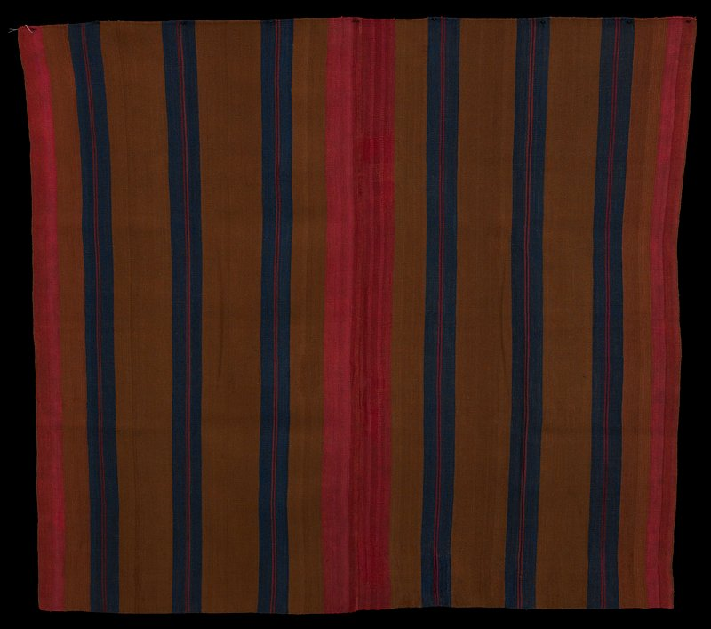 two pieces sewn together brown, blue, red, pink and orange stripes of various widths