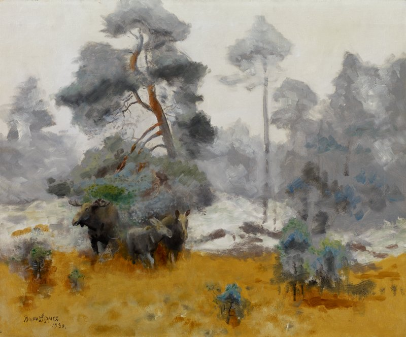 three moose of varying sizes at left; Impressionistic landscape with grey-white sky; grey and green trees and golden-orange grass