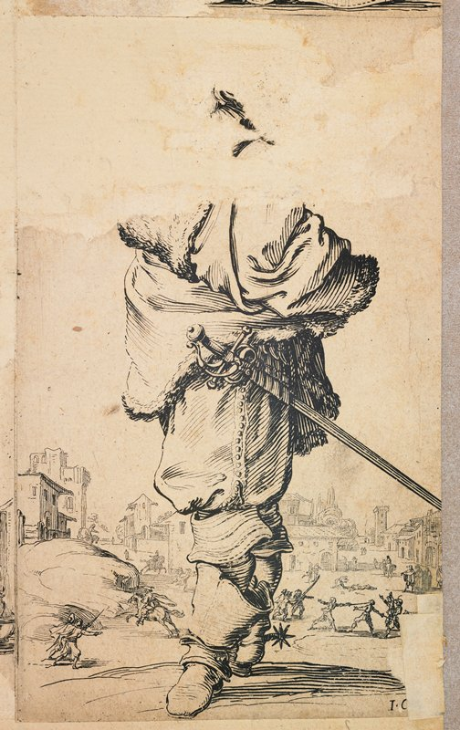 standing figure--nearly all of image above shoulders lost; figure wears fur wrap, sword at waist and boots with spurs; sword fight, figure on horse and other figures and buildings far in background; affixed to the LRC on back of drawing