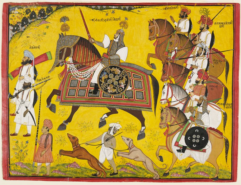 man in armor seated on a large armored horse at center; man holds a large red sword; predominately black and gold shield at man's PL side with images of lions attacking animals and man spearing lion with a sword; five other men on horseback with staffs, swords and shields at right; turbaned man at bottom center with two dogs; three men on foot at left leading procession with spears, swords and rifle; delicate slice of landscape with birds, trees, buildings and animals at UL and across top edge; yellow ground; red edging