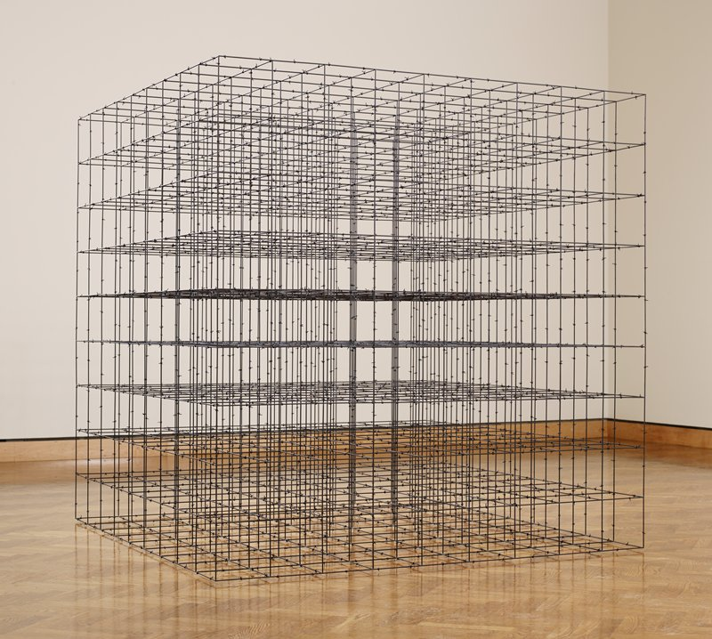 "black openwork barbed wire cube with 8"" sections repeated"