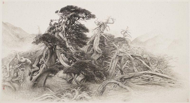 wild tangle of tree branches and roots; some mountains in background; painted on flecked paper