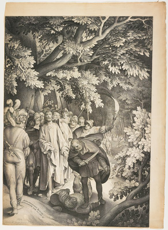 forest scene with men with spears, lantern and torch leading Jesus; man with dagger drawn standing with his PR foot on another man's PR arm--overcome man lying on ground; other figures in background