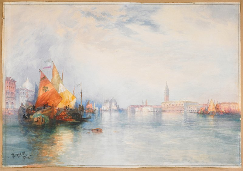 boats with colorful sails at left; calm water; view of buildings in Venice in background