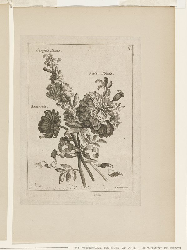 one of two prints on a single mat; boquet of flowers with each flower named