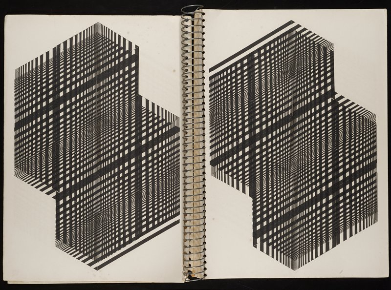 wire spiral-bound book with folded pages (open edge at binding); printed images on both sides of pages in black of geometric designs of lines forming optical illusion cubes in various patterns; white thin cardboard covers; 80 pp.
