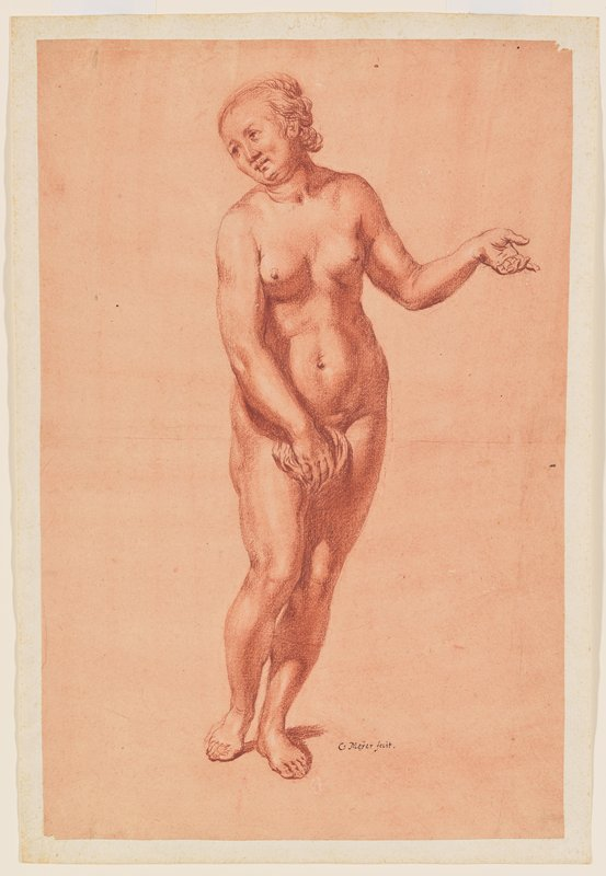 standing nude woman; contraposto pose with PL arm out with elbow slightly bent; head tilted to PR