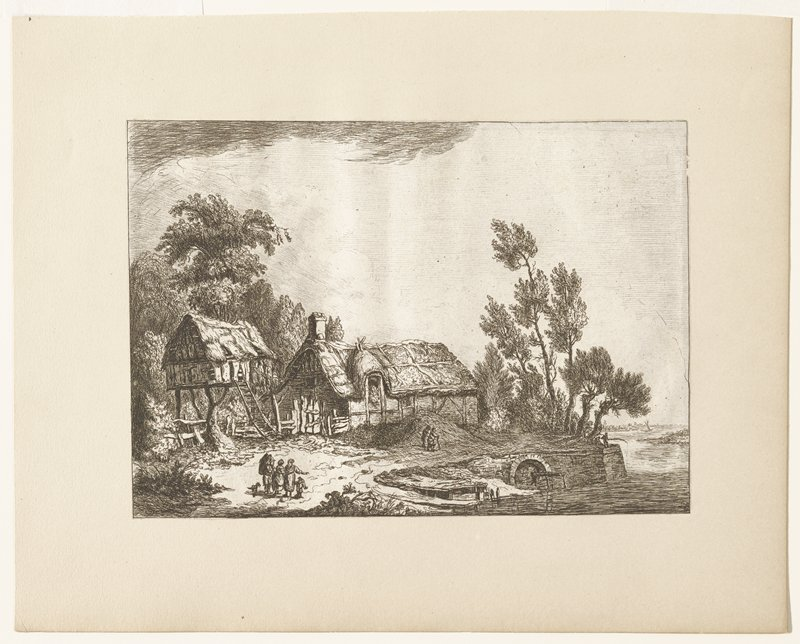 house with thatched roof; raised structure with thatched roof with ladder to entry; group of figures left foreground; two figures middle ground; figure in distance fishing in stream