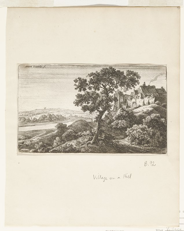 village on top of hill right; large tree center foreground; small figure descending hill behind tree; windmill distance left center