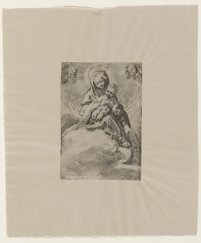 Virgin holding child; sitting on clouds; putti upper corners