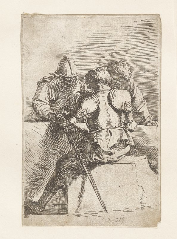 three men around a table; man at left facing viewer, wearing armor and helmet; man at center facing away from viewer also in armor with sword visible; third man curly hair and wearing shirt