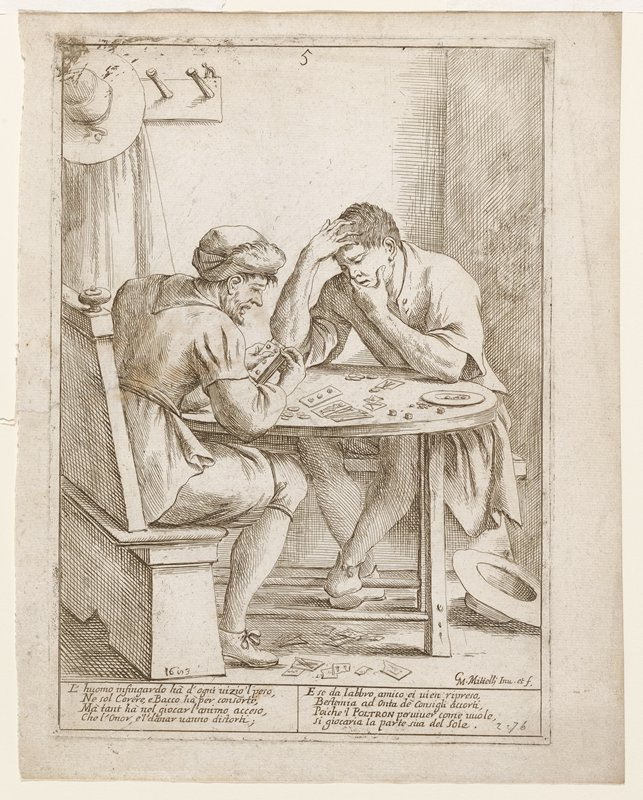 two men seated at table gambling; cards, coin and dice on table; one man facing viewer, hat at feet; second man facing away from viewer wearing turban