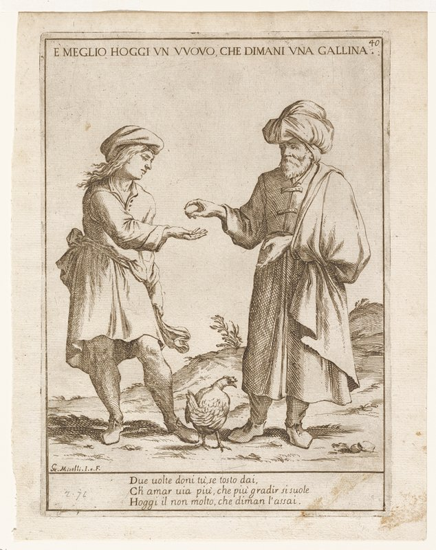two figures in a landscape; man at right wearing large turban handing egg to figure on right; hen on ground between them