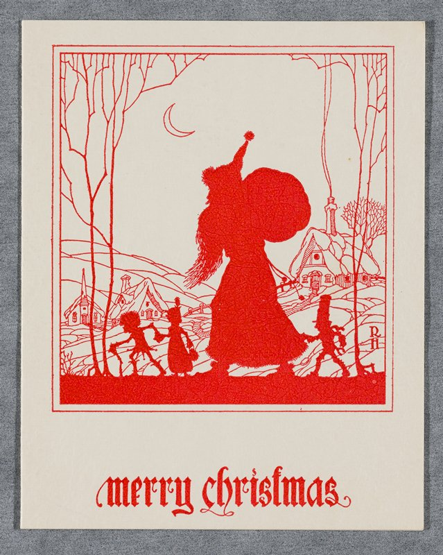 "white card with textured finish, printed in red on front; silhouettes of Santa Claus with three tiny figures; line drawing of village houses and church and crescent moon in background; ""Merry Christmas"" printed below image; signed inside in blue ink: ""Richard and Anne Holzschuh"""