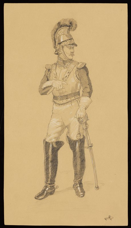 standing soldier with thick moustache, wearing a helmet, gloves with gauntlets, and very tall riding boots with spurs, resting his PL hand on his sword; small shoe in LRC