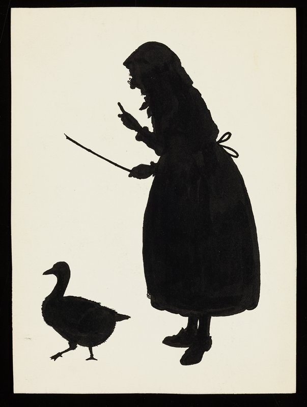black silhouettes of old woman wearing glasses, holding a switch, with one hand raised, pointing upward; goose in front of woman