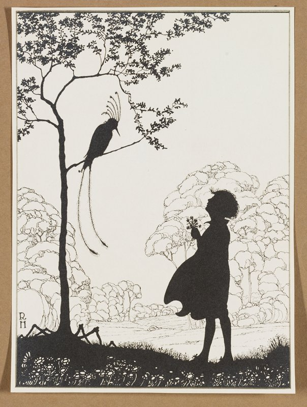 silhouette of girl holding a small bouquet of flowers at right, looking up at a bird with two very long tail feathers and six tall feathers on head perched in a small tree; white flowers in foreground at bottom; linear images of trees in background; mounted to brown paper; probably a reproduction
