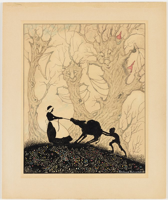 black silhouettes of woman (with edges of head covering and apron in white) pulling on a rope tied to a donkey, with a boy pushing on the back end of the donkey; three personified trees in background, with two elves wearing red caps looking on from on top of the tree at right