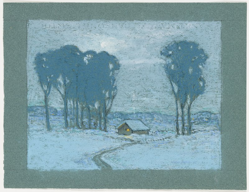 landscape with small house in twilight in snow; tall trees to either side of house; winding path leads up to house; shades of blue