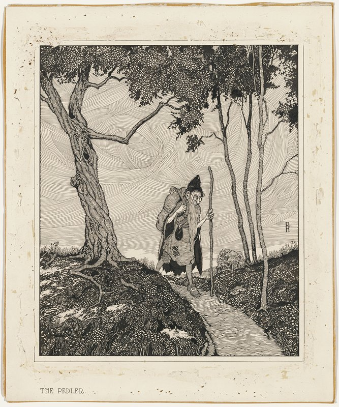 old man with large nose and very long beard, wearing glasses, black pointed cap, and patched tunic, with a pack on his back and a tall walking stick, walking down a path in a landscape; three trees with thin trunks at right; another tree at left; swirling sky